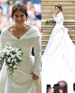 الأميرة يوجين 2019 قبالة الكتف فساتين زفاف كم طويل الحرير الاجتياح قطار الكنيسة بثوب الزفاف مخصص