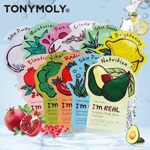 Estou REAIS Cuidados Com A Pele Folha de Alimentos Hidratante Máscara Facial Controle de Óleo Poros Encolher 11 Tipos TONYMOLY MOLY TONY MÁSCARA Facial