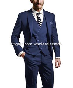 Nouvelle arrivée garçons d'honneur pointe revers marié smokings bleu hommes costumes mariage / bal / dîner meilleur homme blazer (veste + pantalon + cravate + gilet) K813