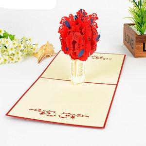 Blume kreative Liebe 3D Pop UP Papier Kraft Postkarten Weihnachtsbaum Grußkarten Geburtstag romantische Hochzeit Einladungskarte
