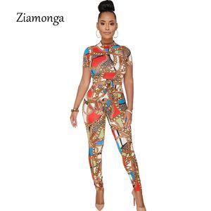 Ziamonga Elegant Rompers Femmes Combinaison Deux Pièces Tenues Vintage Chaîne Imprimé Skinny Combinaisons Dames Bureau Party Salopette