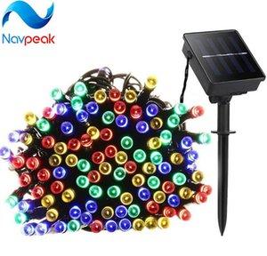 1 unids 100 Led luces de la secuencia solar 12 m Fairy Led Strip Lámparas solares Jardín de la boda de la boda vacaciones decoración de la fiesta de Navidad