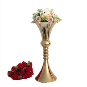 65cm height flower vase gold metal candle holder candle stand wedding centerpiece event party road lead home decor 10 pcs  lot