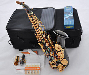 Germany Workmanship Small Curved Bb High F Soprano Saxophone Black Nickel Gold Body, Gold Plated Bell And Keys For Students