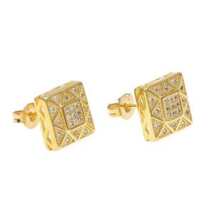 Mens 18k plaqué or blanc cristal boucle d'oreille bijoux de mode hommes Hip Hop carré cuivre boucles d'oreilles