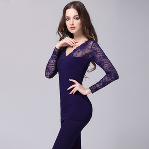 Winter Seamless Sexy Thermal Underwear Women Long Johns with Lace Antibacterial Lady Body Shaped V-Neck Underwear Set