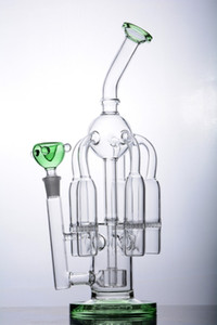 Unique Thickness Green Mouth Glass Tube Five Bolts with Showerhead Perc Bongs Bent Water Pipe 14mm joint Recycler Dab Rig Bong