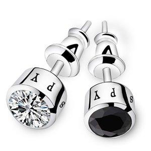 Мода мужские серьги для жениха 925 стерлингового серебра серебро 925 Аксессуары для жениха Мужские ушные гвоздики для жениха Свадебные подарки Черное серебро