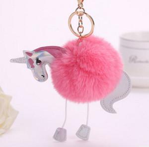 Unicorn Pony Keychain Lovely Fluffy Ciondolo Artificiale Pelliccia di Coniglio Portachiavi Anello Portachiavi Auto Hang Bag Accessori spedizione gratuita