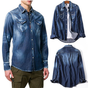 Lxury NOVO Rasgado Denim Camisa Afligida Dos Homens Branqueada Wash Vintage Casual Slim Fit Camisas De Jean Legal Guy