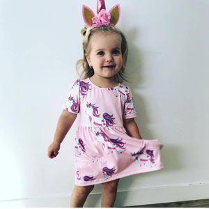 INS Girls Summer Unicorn Full Print Pink Princess Dresses Infant Toddlers Vestido de manga corta de algodón Top Tees Vestido 80-110cm