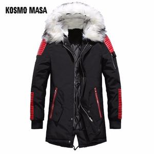 KOSMO MASA Schwarz Long Man Winterjacke Herren Warm Fur Hooded 2018 Herren Jacken Und Mäntel Zipper Down Herren Parkas MP029