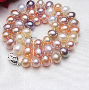 Colorful Pearl Necklace 9-10mm 100% Natural Freshwater Pearl Hot Sale Jewelry Necklace For Women ENJOY