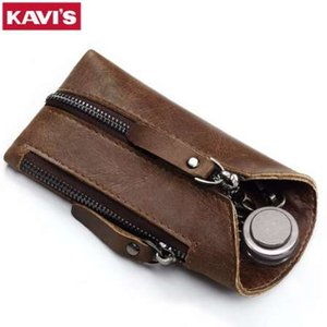 KAVIS Genuine Leather Housekeeper Key Wallet Smart Car Bag Pouch Ring Wrap Fo organizador caso hombre con el titular de la tarjeta de la moneda llavero
