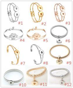 12 estilos noosa prata banhado a ouro pressão botão pulseira 18mm botões de pressão charme pulseira pulseiras diy botão snap jóias
