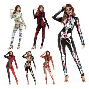 Estrutura do corpo humano 3d impressão festa à noite trajes macacões calças skinny mulheres do dia das bruxas cosplay trajes conjuntos de desgaste do festival ternos