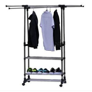 2018 Hot Dual Bars Horizontal Vertical 3 Tiers Stainless Steel Clothing Garment Shoe Rack Storage Holders & Racks