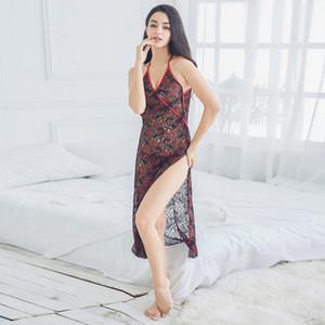 Женщины Sexy Back крест Lingerie Косплей Cheongsam Sleep Side Fork платье Strappy корсет сорочка пижама