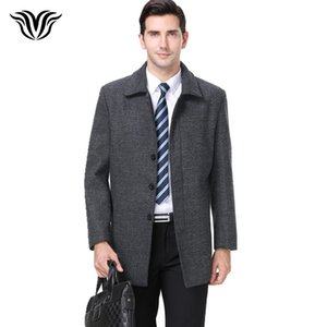 2018 winter new style fashion warm gray wool coat  high quality lapel single-breasted men's business casual coat