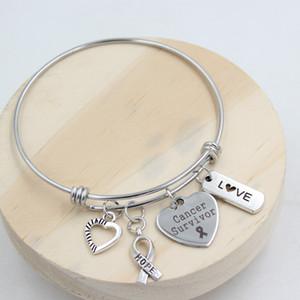 Wholesale neue Ankunfts-Edelstahl-Draht-Armband-Armband-Hoffnungs-Band-Liebes-Herz-Krebs-Überlebender Charm Armband Awareness Schmuck