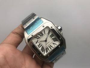 Luxury Men 100 XL orologio in acciaio inossidabile 2813 Movimento automatico meccanico in argento da uomo Sport originale da polso con fibbia originale