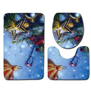 Novo Design Natal Honlaker WC Banheira Mats Banho Decoração antiderrapante banho tapete macio Bath Carpet 3Pcs / Set