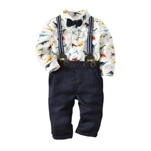 Niños niño caballero conjuntos de ropa de cuello redondo estampado de dinosaurio mameluco + pantalones 100% algodón niño niños primavera otoño ropa dos piezas conjuntos