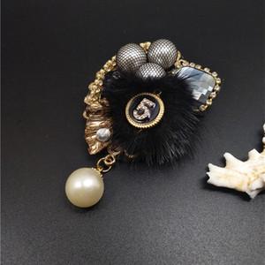 EN STOCK Rabbit Fur Charm Simulé Broche perles broches pour femmes coréennes fourrure Lettre boule pendentif perle 5 cc manteau d'hiver Broche