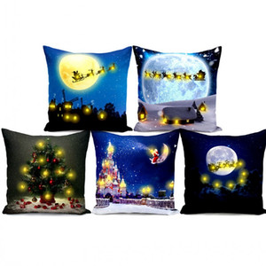 Christmas Cushion Cover with LED Lights Pillowcase Christmas Tree Santa Claus Pillow Case for Sofa Living Room