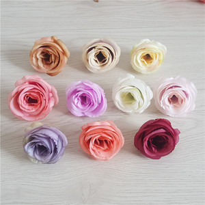 100 ADET 5 CM Yapay Ipek Vintage Retro Gül Kamelya Japonica Çiçek Kafa Tomurcuk Diy Giyim Şapkalar Için Dekoratif Aksesuar Düğün Dekor