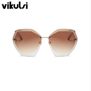 투명 그라데이션 선글라스 여성 선글라스 우아한 광학 무테 lunette 여성 레이디 대형 유명 브랜드 디자이너