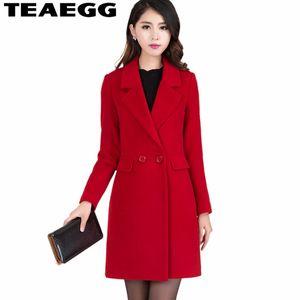 TEAEGG 5XL Kaşmir Sonbahar Kış Bayan Ceket Zarif Bayanlar Coats Femenino Yün Ceket Chaquetas Mujer Invierno 2018 AL1260