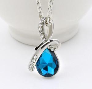Las mujeres en forma de lágrima colgante de diamantes de imitación collar de cristal de diamante de plata del encanto de cadena plateado Para Declaración joyas de las damas