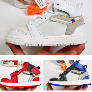 Firmado conjuntamente zapatos de baloncesto de los niños de alta OG 1s Chicago 1 infantil calzado muchacha del muchacho de la zapatilla de deporte Los niños pequeños recién nacido del bebé Formadores niños