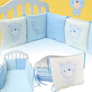 6 PCS / Lot Confortable Bébé Infantile Lit Lit Bumper Coton Enfants Lit Protecteur Pare-chocs Respirant Coussin Toddler Nursery Literie