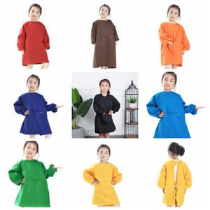 8colors Enfants Tabliers Bavoir Robe Vêtements Bébé Étanche À Manches Longues Smock Enfants Manger La Repas Peinture Burp Cloths GGA736