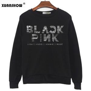Mode Fleece Pullover Langarm Harajuku frauen Sweatshirts Neue Herbst Winter Brief Gedruckt Lässige BLACKPINK Top
