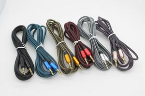1.8 m / 6ft 3.5mm Altın kaplama Konnektörler Metal Örgülü Kumaş Erkek Erkek AUX Ses Kablosu Kablosu DHL tarafından 100 +