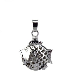 10pcs lot Silver Alloy Cute Big Mouth Head Fish Magnetic Oysters Beads Cage Locket Pendant Aromatherapy Perfume Essential Oils Diffuser