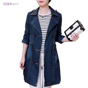 Nuevo 2018 primavera otoño mujeres Windbreaker moda más tamaño 5XL mujeres cuna mujeres Cartoon imprimir abrigo largo elegante IOQRCJV T181