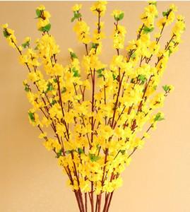 160pcs artificielle cerise printemps Plum Peach fleurs Branche de fleurs de soie arbre pour fête de mariage décoration rouge jaune blanc rose 5 couleurs