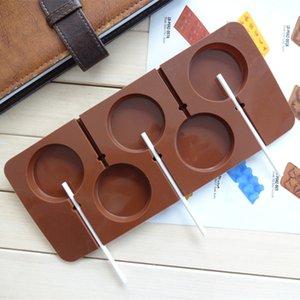 CORATED Fournissez 5 moules à sucette étoilés, même arrondis (livrés avec 6 petits bâtons) dans le moule en silicone pour outils de décoration de gâteaux au four