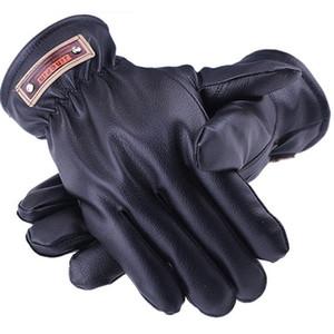 Venda quente Homens Outono Inverno Luvas De Algodão Quentes PU Faux Leather Windproof Espessamento Ao Ar Livre Esportes Caminhadas Luvas Preto