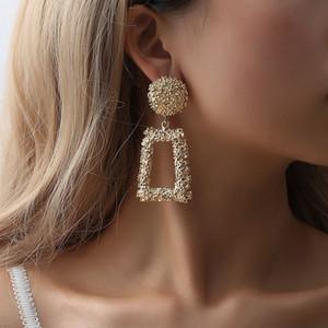 brincos do vintage para as mulheres de metal earing pendurado moda jóias tendência cor de ouro declaração geométrica brinco