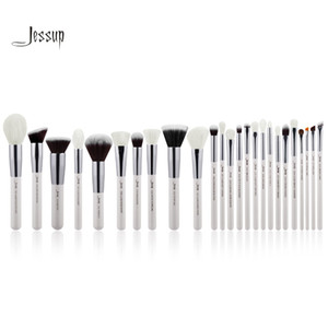 Jessup Pearl White / Silver Pinceles de maquillaje profesional Conjuntos de pinceles Belleza de alta calidad maquillaje Kit de herramientas Polvos base en polvo