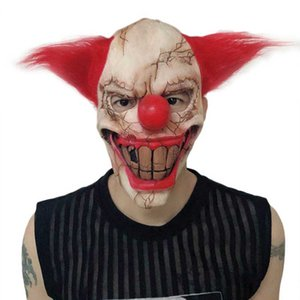 Halloween Mask Scary Clown Latex Full Face Mask Big Mouth Red Hair Nose Cosplay Horror Masquerade Masks Ghost Party Supplies