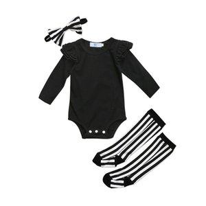 Nettes neugeborenes Baby-Mädchen-Rüschen-Spielanzug-Overall-Socken-Gamaschen-Kleidungs-Ausstattungs-Kleinkind-Säuglingsmädchen-feste zufällige Spielanzug-Kleidung