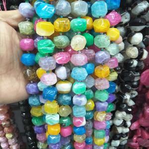 Высокое качество природных красочный квадратный Агат каменные бусины для ожерелье делая свободные Gem камень бисера DIY ювелирные изделия аксессуары