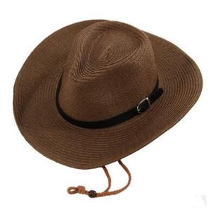 Palha Trança Homens Chapéus de Cowboy com Fivela Western American Mens Chapéu Senhora Praia Chapéus Sólidos Cáqui 5 Cores