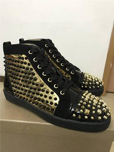 Luxury fashion red bottom sneakers for men womens with Spikes black suede loubbis casual men shoes 2018 dress party wedding men shoes